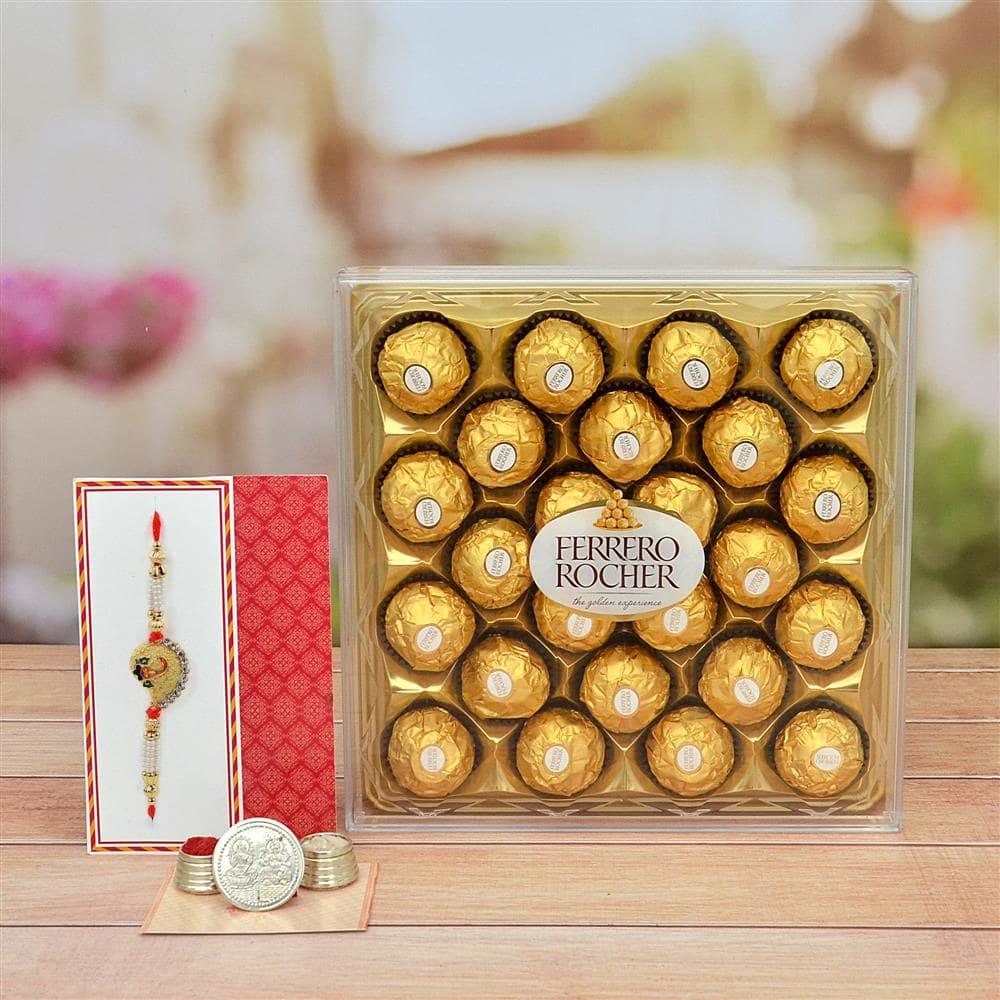 Exclusive Rakhi N 24 pieces Ferrero rocher Chocolate.