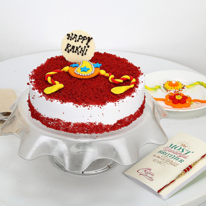 Rakhi and Red Velvet Cake.