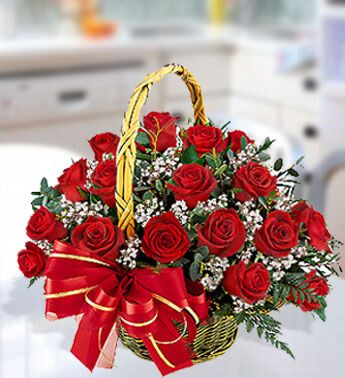 Flowers to UAE- Magical Red Roses Basket