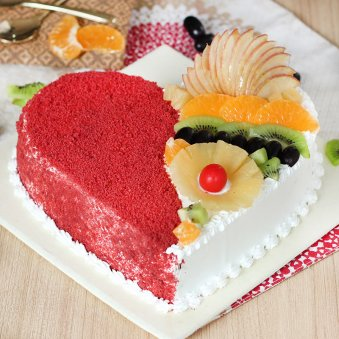 Heart Shape luxury red velvet cake with Fruit