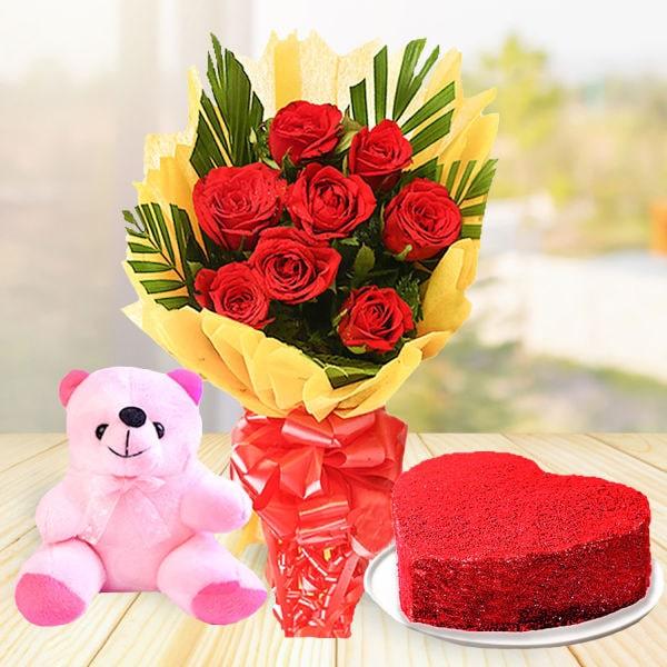 Send Gift-Red Roses Bunch and Redvelvet Cake Combo