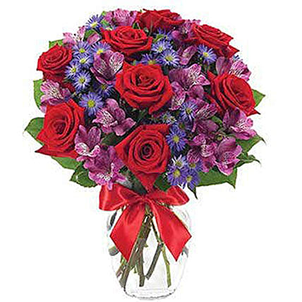 Red Roses And Alstroemeria Bouquet