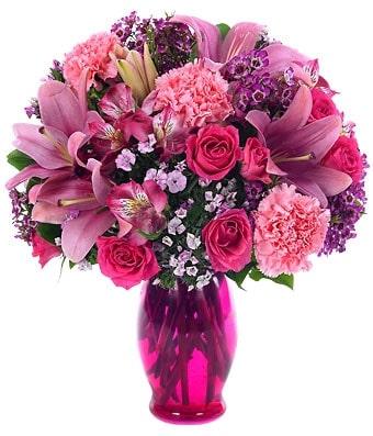 Pink Posy Arrangement in vase