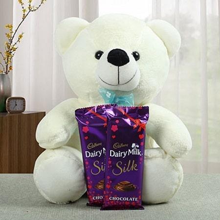 Send Gift-Cudly Luvly Teddy with Cadbury Silk