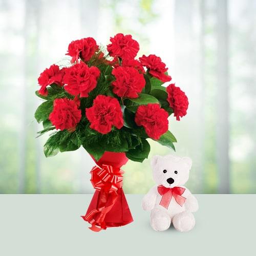 12 Carnations Bouquet N 6 Inch Teddy