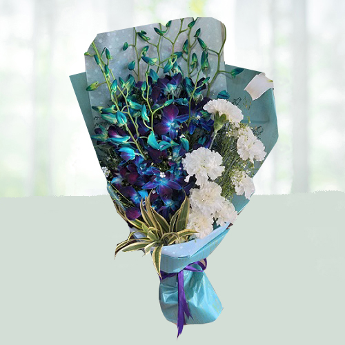 Admirable Orchid and Carnation Bouquet