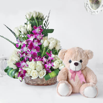 Send Gift-White Roses and Orchids in Cane Basket