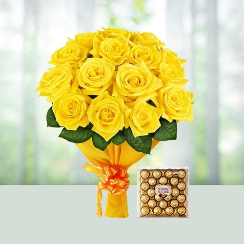 Yellow Roses with Ferrero Chocolates