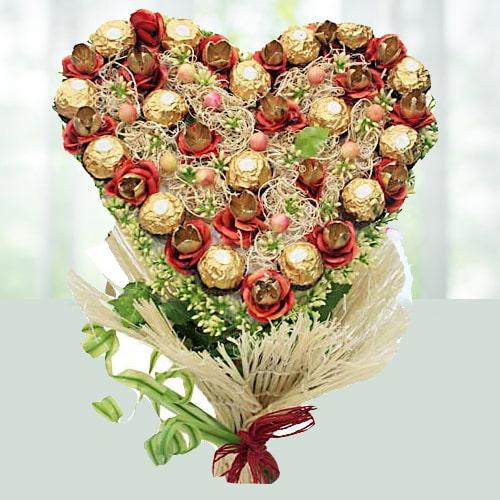 Heart Shaped Chocolate Bouquet Arrangement