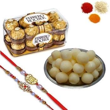 Rakhi with Ferrero Rocher N Rasgulla