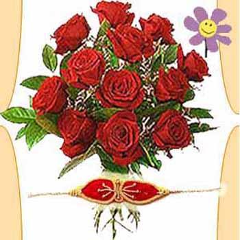 Rakhi With Lovely Roses to India