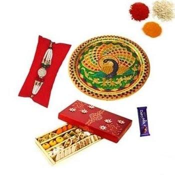 Rakhi Thali with Sweets and Chocolate
