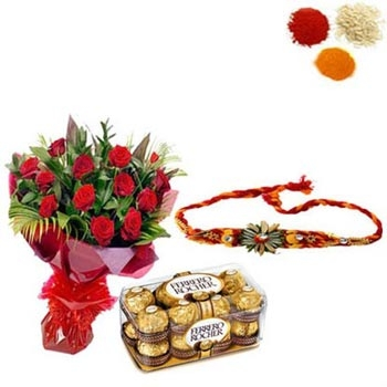 Rakhi with Ferrero Rocher and Red Roses