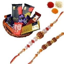 Rakhi with Mix Chocolates Basket