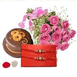 Rakhi with Pink Roses N Cake