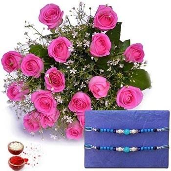 Rakhi with Pink Roses