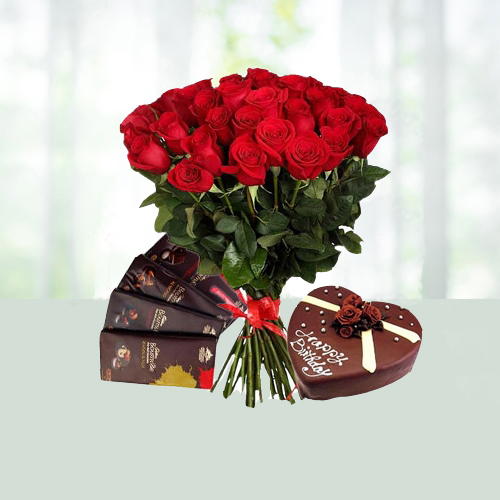 V Day-25 Red Roses Bouquet with Heart Shape Choco Cake N Chocolates