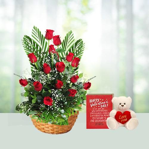 V Day-25 Red Roses Basket N Teddy