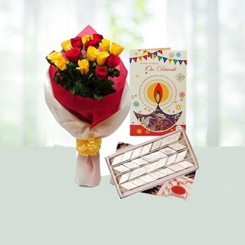 Roses with Kaju Katli on Diwali