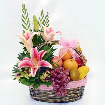 Lily And Fruit Hamper