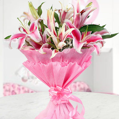 Preety pink Lilies Bouquet