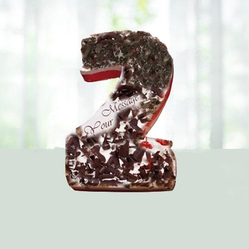 Single Number Shape Blackforest Cake