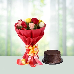 10 Mix roses & Chocolate Cake