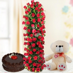 12 Red Carnations with 1 kg Pineapple cake - Valentine Day Gifts to India