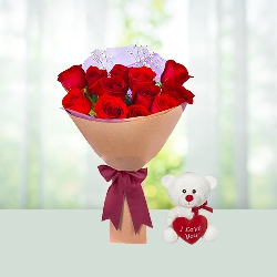 12 Red Roses Bouquet with 6 inch Teddy with Heart