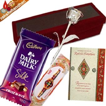 Rakhi Silver Rose Chocolate Treat