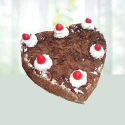 Eggless Heart Shape Blackforest Cake