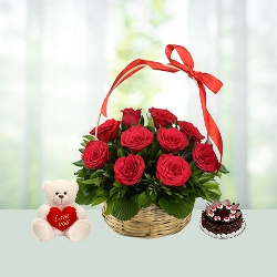 V Day- 18 Red Roses Basket with 1 Lb Black Forest Cake N 6 inch Teddy