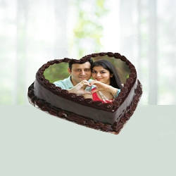 Heartshape chocolate photo cake 1 kG