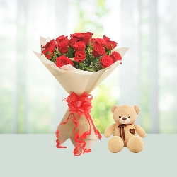 V Day - 15 Red Roses Bouquet N Teddy