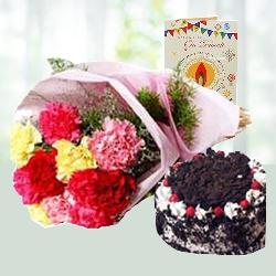 Diwali Wish with Carnations N Cake