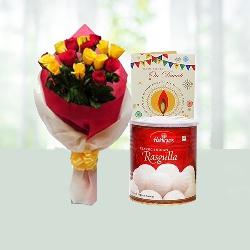 Diwali Wish with Rasgulla n Flowers