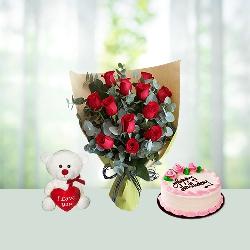 Flowers Cake Teddy Combo Online