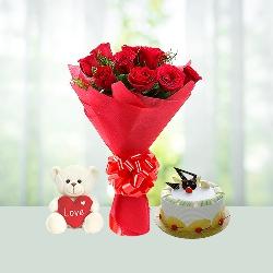 Flowers Cake Teddy Combo