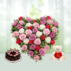 V Day-30 Heart shape Roses Bouquet with Cake N Teddy