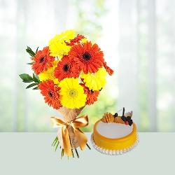 Gerbera n Pineapple cake combo