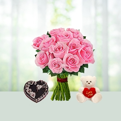 V Day- 25 Pink Roses Bouquet N 2.2 Lb heart chocolate cake N 6 inch Teddy
