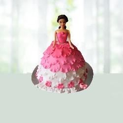 White N pink Doll Cake