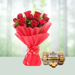 Bunch of 12 Red Roses N 200gm Ferrero Rocher Chocolate