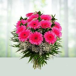 12 pink gerbera bouqet