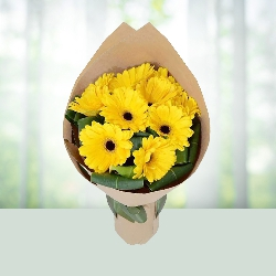 12 yellow gerbera bouqet