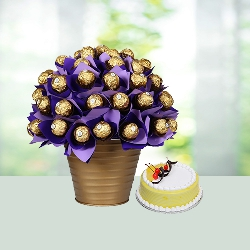 Ferrero Rocher Bouquet with Cake