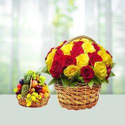 Fruits n flower basket