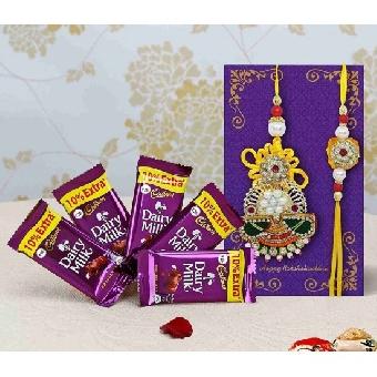 Special Designer Rakhi with cadbury hamper