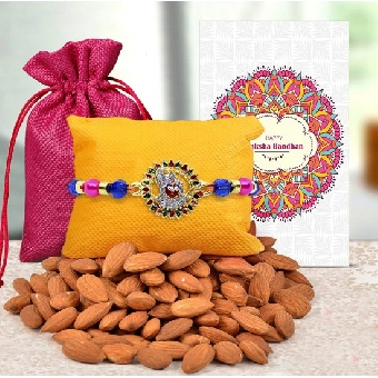 Designer rakhi for brother with Almonds.