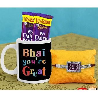 Designer Rakhi with Printed Coffee Mug and Chocolates,roli chawal
